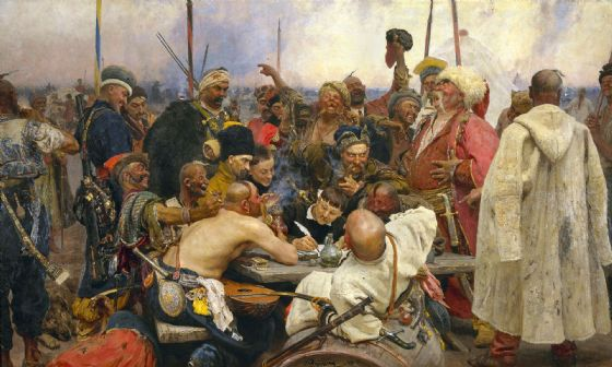 Repin, Ilya: The Zaporozhian Cossacks Replying to the Sultan of Turkey. Fine Art Print/Poster (5139)